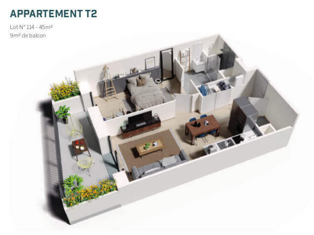 plans T2 Brooklyn Tower Marquette Lez Lille